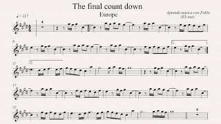 THE FINAL COUNTDOWN: Eb Inst (saxo alto, saxo barítono...) (partitura con playback)