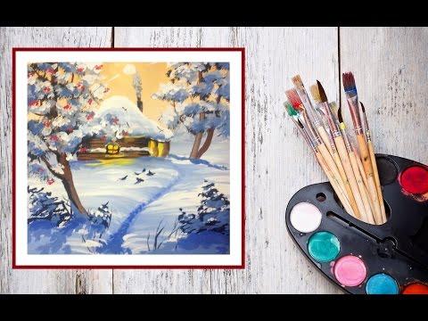 Видео как нарисовать рисунок Зимняя сказка