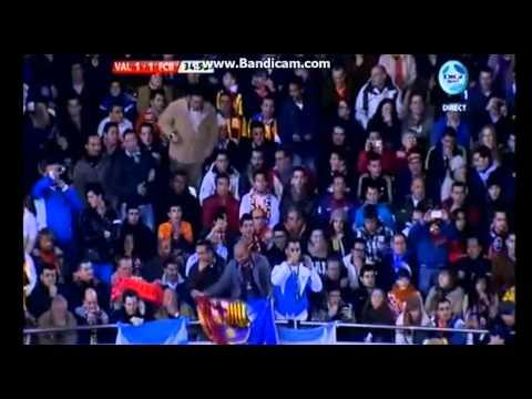 Valencia Vs. Barcelona Ht 1-1 Puyol Goal 01.02.2012 video