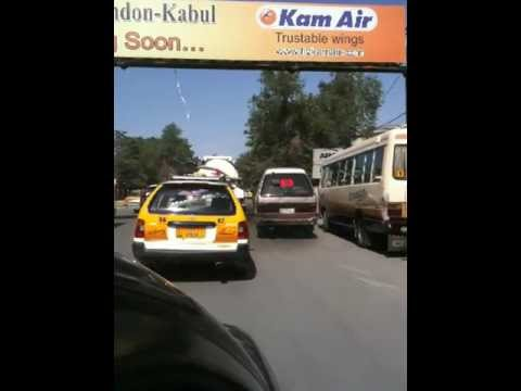 Security Contractor driving the dangerous streets of Kabul Afghanistan