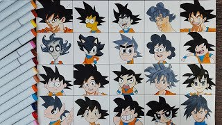 Drawing Goku in 20 Styles - 20 Styles Challenge