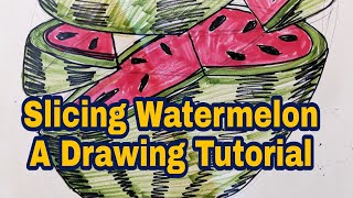 Slicing a watermelon - Sliced and Diced Forms - Drawing Tutorial - Fruit Ninja