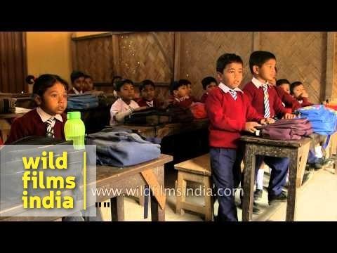 Teacher take class at a school in India