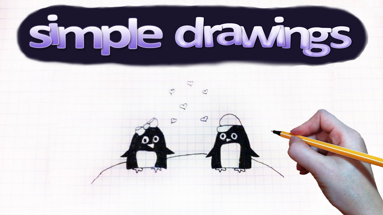 Penguin Couple Drawing to Draw a Penguin Couple