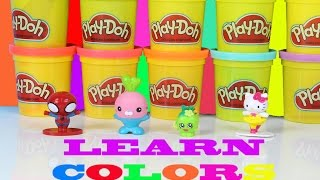 Learn Colors With Play Doh Surprise Eggs!  Hello Kitty Octonauts Shopkins Spiderman Fun Learning!