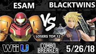 Combo Breaker 2018 Smash 4 - PG  ESAM (Samus, Pika) Vs. EMG LGS  Blacktwins (Cloud) - Wii U L Top 12