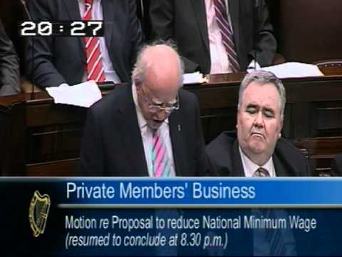Deputy Michael D Higgins speaking on reducing the minimum wage during the Labour PMM