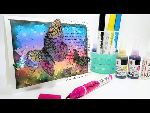 Mixed Media Butterfly Card with Alcohol ink and Ecoline pens (Smart Art September 2019 Box)
