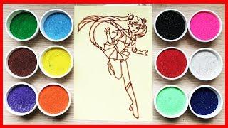 TÔ TRANH CÁT THỦY THỦ MẶT TRĂNG Sailor Moon cùng chị Chim Xinh - Learn colors Sand Painting