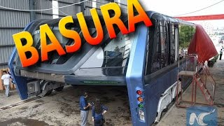 El autobús elevado de China es ahora un gran pedazo de basura abandonado
