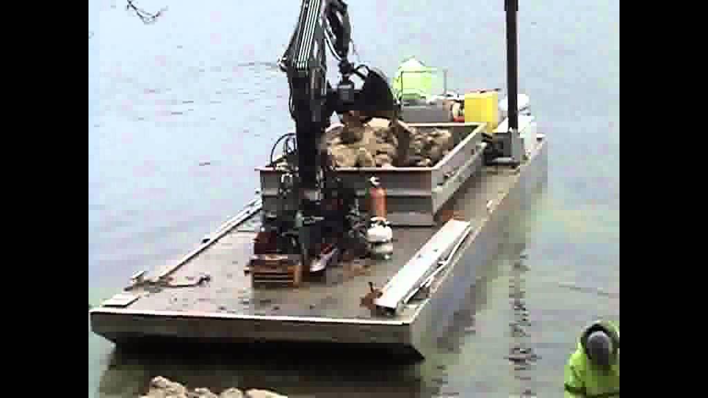 KANN Work Barge Series, Aluminum Crane Barge - Rip Rap.wmv - YouTube