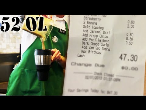 "($47.30) World's Most Expensive Starbucks Drink - ""Quadriginoctuple Frap"""