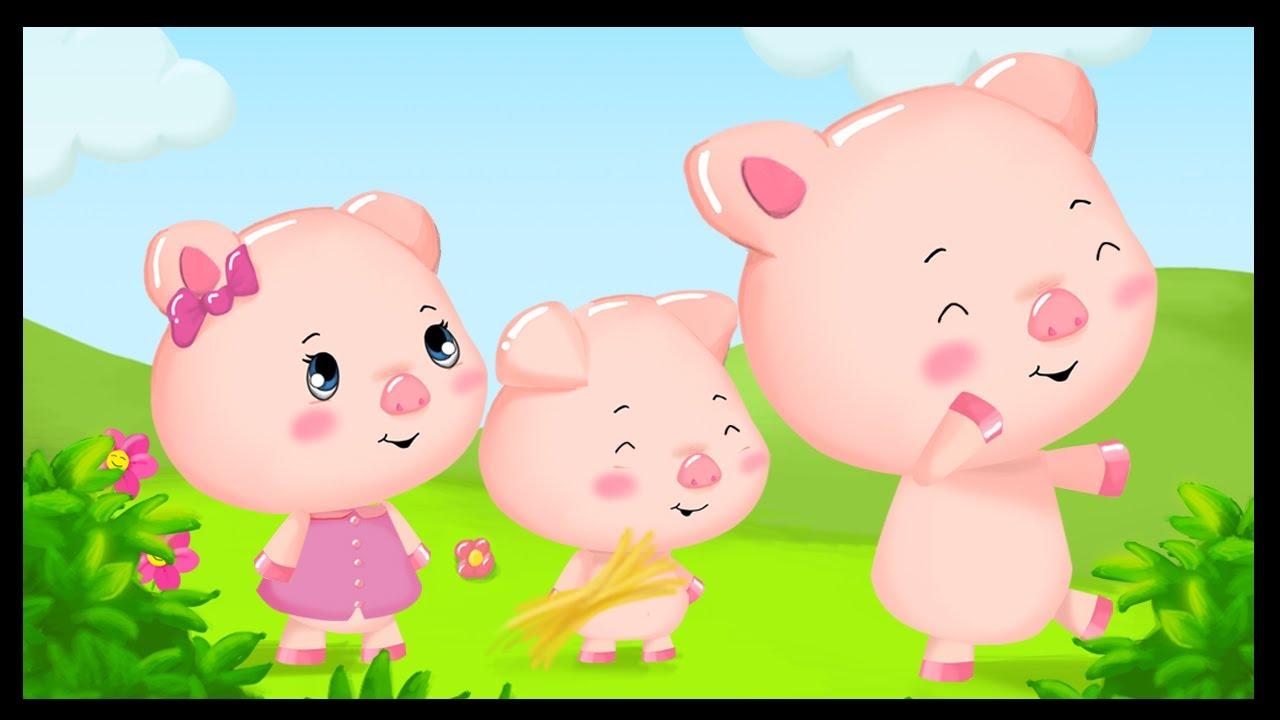 Les trois petits cochons youtube - Coloriage les trois petit cochons ...