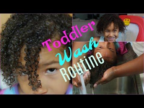 TODDLER GIRLS NATURAL HAIR WASH ROUTINE! WASH AND GO BIRACIAL GIRLS HAIR | TALLGLAMAZONJMOMMY