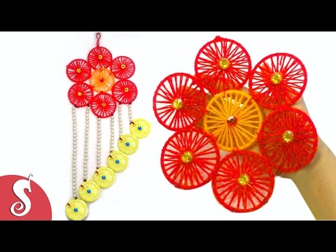 DIY Woolen Wall Hanging from wastage Bangles for Home Decoration ...