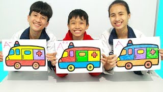 Kids go to School Learn Coloring Toy Ambulance | Classroom Funny Nursery Rhymes