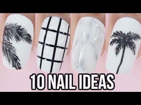 10 Black & White Nail Art Designs - YouTube