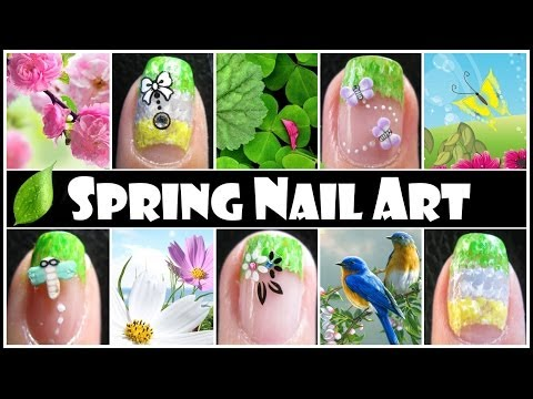 SPRING NAIL ART DESIGNS | EASY FRENCH TIP GRADIENT NAIL TUTORIAL STICKER FIMO FLOWER BUTTERFLY