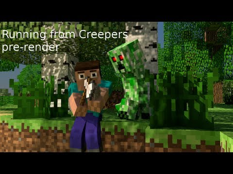 Minecraft Running from Creepers music video pre-render Music Videos