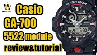 Casio GA 700 G shock - module 5522 - review & tutorial on how to setup and use the functions