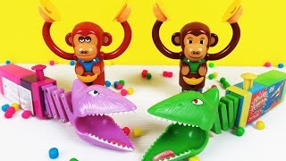 Play With Chomping Mouth Dinosaur & Wacky Monkey Candy Dispenser | Fun Play Time Video For Children