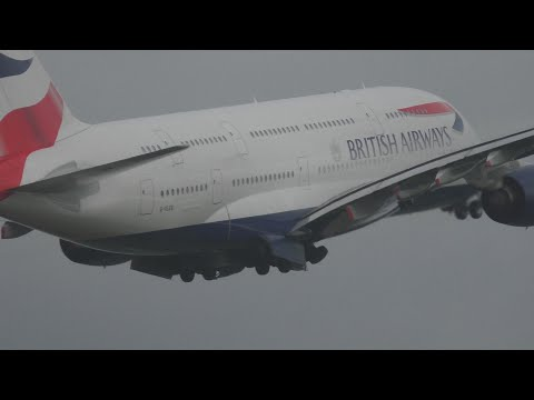 Biggest Airliner In The World British Airways Super Jumbo A380 Takeoff London G-XLEB