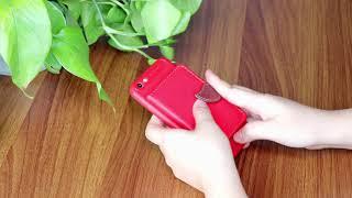Mobile Phone Back Case with Card Bag Leaf Clip Design Red