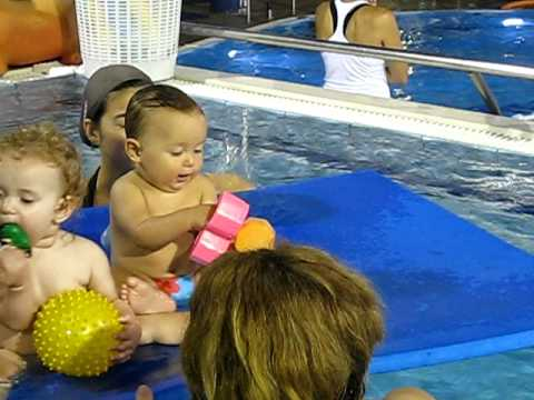 Baby Nikita's swimming lesson.