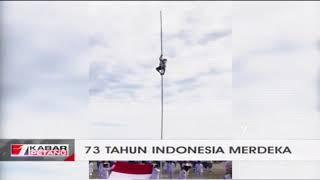 Viral!! Aksi Heroik Siswa SMP Panjat Tiang Bendera saat Upacara Kemerdekaan RI ke 73