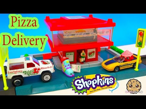 Shopkins Order Pizza Matchbox Cars Drive Thru Fast Food Delivery Playset Video - Cookieswirlc Review