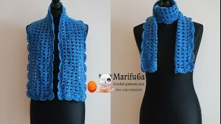 How to crochet blue easy scarf pattern free tutorial by marifu6a