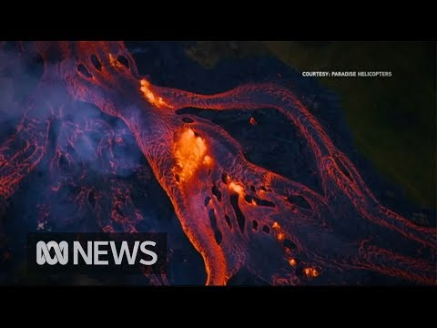 Rivers of fast-moving lava flow from Hawaii's volcano