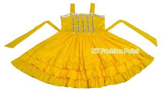 Beautifully costume cotton summer baby girl's dresses with romantic ruffle for party girls dress