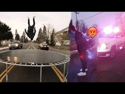 BLOCKING TRAFFIC WITH A TRAMPOLINE (TERRIBLE IDEA)