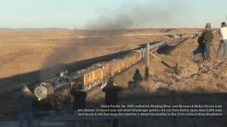 Ringling Bros. and Barnum & Bailey Circus train and Union Pacific 3985