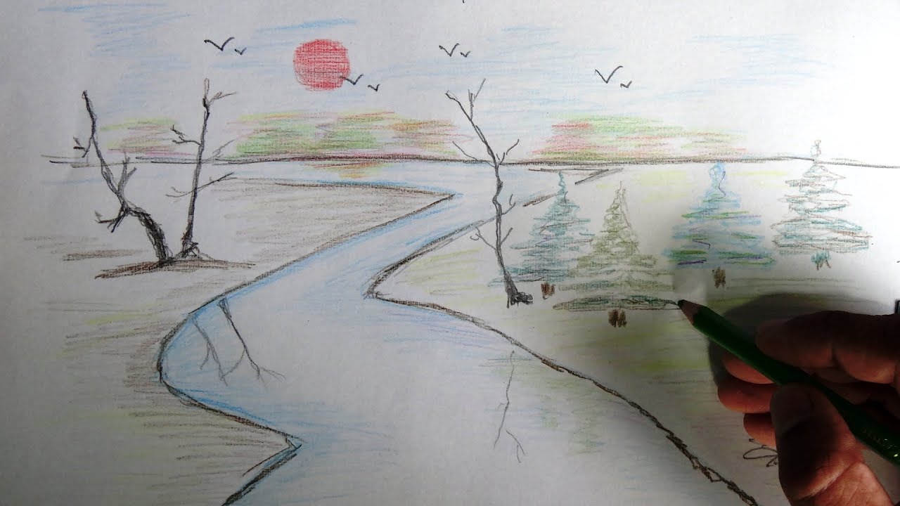 Bird Scenery Drawing How to Draw a Scenery Color