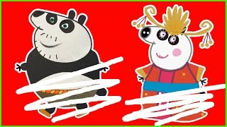 Drawing PEPPA PIG Kung Fu Panda 3, Fun Coloring For Kids