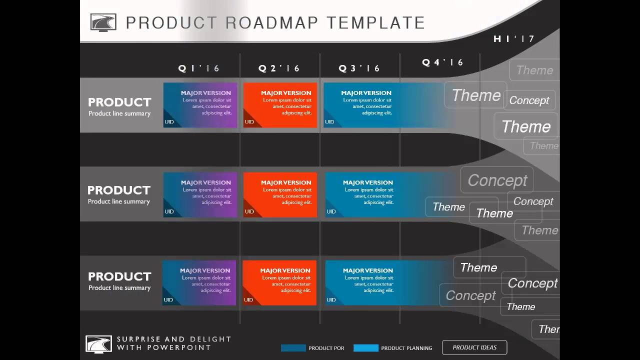 Professional PowerPoint templates from My Product Roadmap