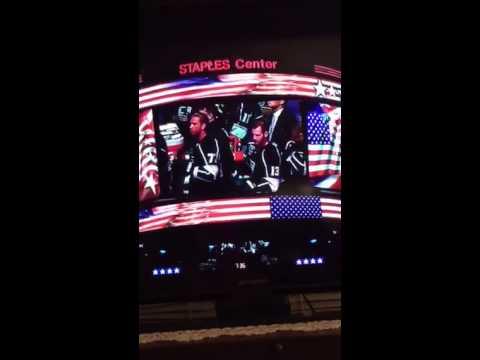 Pia Toscano sings National Anthem LA Kings Oct 8, 2014