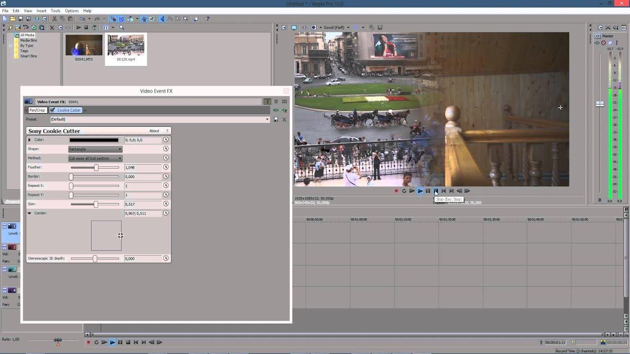 Несколько видео в одном кадре с помощью Sony Vegas 78