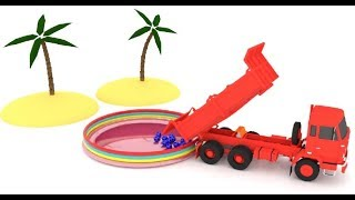 Learn Colors in English for babies and kids * Soccer balls falling into a swimming pool 3D