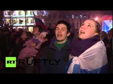 Ukraine  Sevastopol celebrates Crimean referendum with fireworks and flags