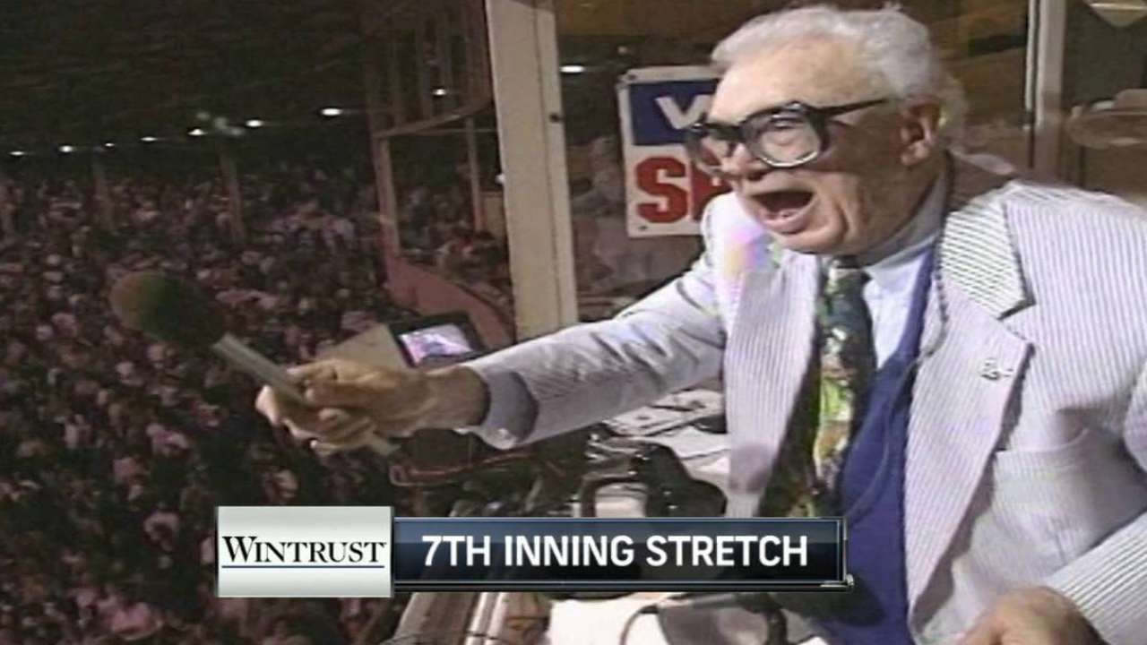 MIA@CHC: Harry Caray sings during 7th-inning stretch