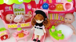 Baby doll slide house pink car and Baby doli bath toilet toys play 아기인형 딸기 미끄럼틀 하우스 목욕놀이 뽀로로 자동차 장난감