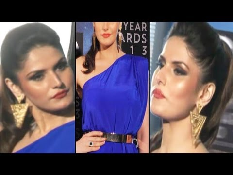 Sexy Zarine Khan Hot Ballons Jumping In Blue Gown