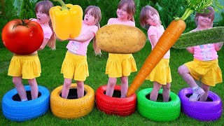 Learn Vegetables with Five Little Girl