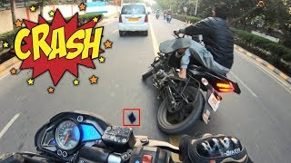 PULSAR 220F #CRASHED - While Chasing #RS_200, Caught In My Go Pro Hero 7#Black, #Delhi. TDR Lucknow.