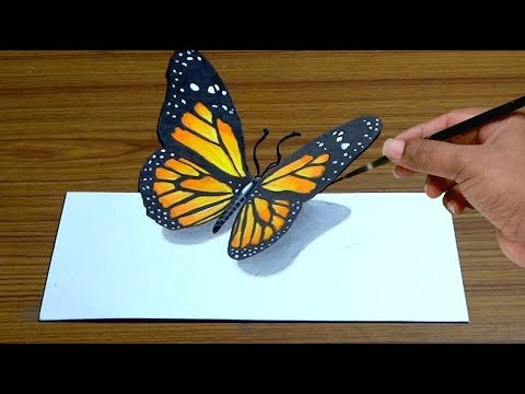 How to Draw 3D Butterfly in Simple Way | Anamorphic illusion | Trick Art #1