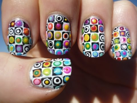 Rainbow Checkered Pattern Nail Art Tutorial