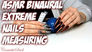 BINAURAL ASMR MEASURING EXTREME STILETTO NAILS   CosmeticSnob